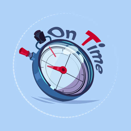 On time delivery service emblem with chronometer over blue background flat vector illustration. Illustration