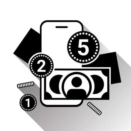 Mobile Banking Icon Silhouette Money And Coins Over Smart Phone On White Backgroound With Shadow Vector Illustration