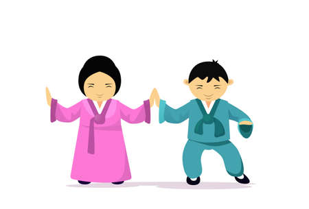 Asian Man And Woman Wearing Traditional Clothes Kimono Dancing Asia Ethnic Tradition And Culture Concept Flat Vector Illustration Illustration