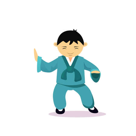 Asian Man Cartton Character Wearing Traditional Clothes Kimono Isolated Over White Background Flat Vector Illustration