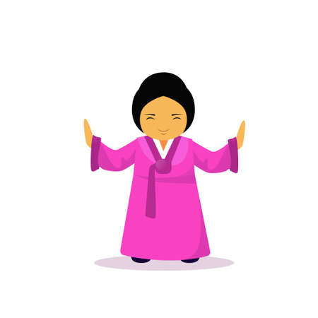 Asian Woman Cartoon Character Wearing Traditional Clothes Kimono Isolated Over White Background Flat Vector Illustration. Illustration