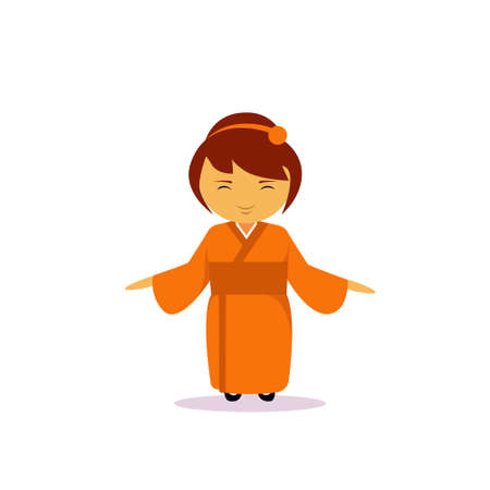 Asian Woman Cartoon Character Wearing Traditional Clothes Kimono Isolated Over White Background Flat Vector Illustration