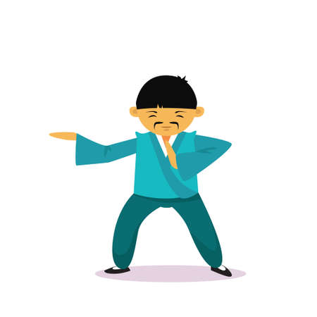 Asian Man Cartoon Character Wearing Traditional Clothes Kimono Showing Martial Arts Isolated Over White Background Flat Vector Illustration