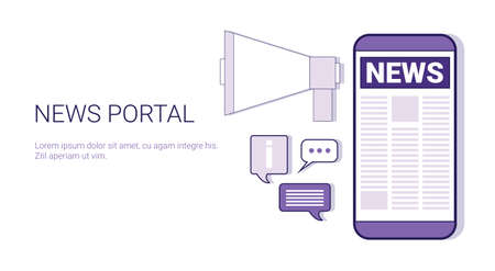 News Portal Concept Template Web Banner With Copy Space Vector Illustration