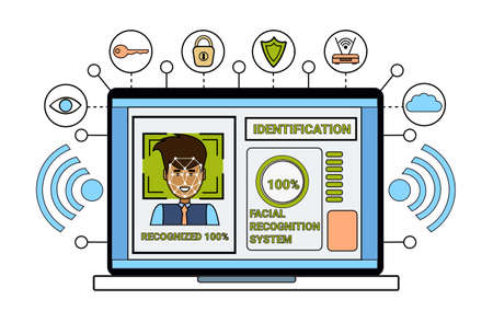 Laptop Computer Identification System Biometrical Identification Business Man Face Scanning Face Recognition Concept Vector Illustration