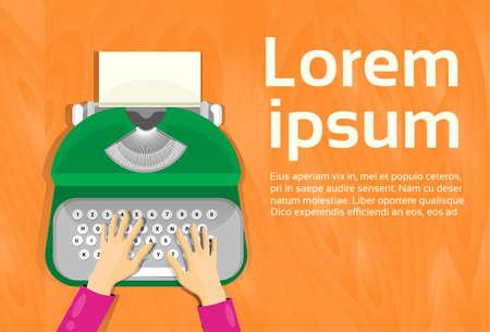 mains tapant sur le plat machine à écrire vintage vue de dessus vector illustration