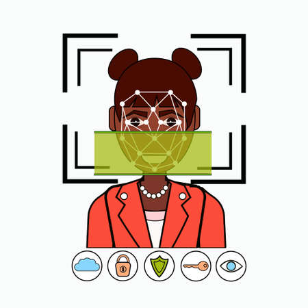 Face Recognition And Identification System Biometrical Identification African American Business Woman Face Scanning Vector Illustration