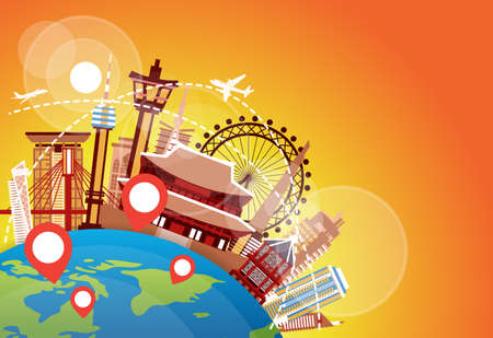 South Korea Landmarks Plane Fly Over Famous Korean Buildings Vacation And Travel Destination Concept Flat Vector Illustration Illustration