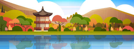 Traditional South Korea Landscape Palace Or Temple Over Mountains Korean Building Famous Landmark View Horizontal, Banner Flat Vector Illustration