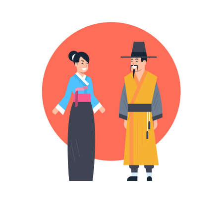 Asian Couple Wearing Ancient Costume Illustration