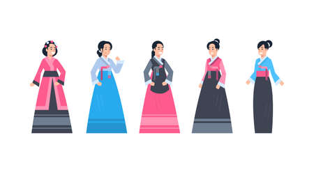 Korea Traditional Clothes Set Of Women Wearing Ancient Korean Dress Isolated Asian Costume Concept Flat Vector Illustration