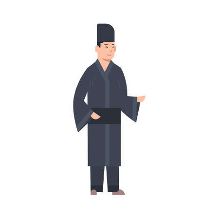ff17d794ea9ed Korea Traditional Clothes Man Wearing Ancient Costume Isolated Asian Dress  Concept Flat Vector Illustration Illustration