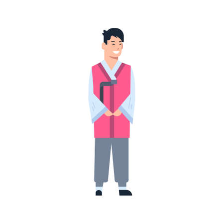 Korea Traditional Clothes Man Wearing Ancient Costume Isolated Asian Dress Concept Flat Vector Illustration Ilustrace