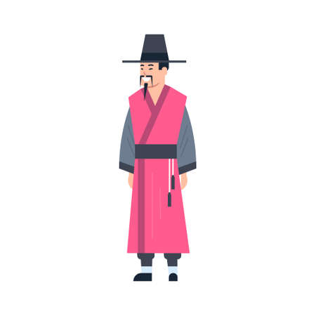 Mongol Traditional Clothes Man Wearing Ancient Costume Isolated Asian Dress Concept Flat Vector Illustration