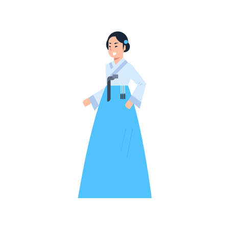 Korea Traditional Clothes Woman Wearing Ancient Costume Isolated Asian Dress Concept Flat Vector Illustration