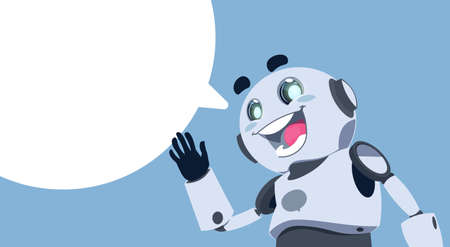 Cute Robot White Chat Bubble Chatbot Service, Chatter Or Chatterbot Technical Support App Concept Flat Vector Illustration 矢量图像