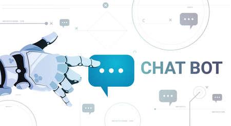 Chatter Service App Concept Robot Hand Touch Chat Bubble Template Banner Met Copy Space, Chatterbot Technische Ondersteuning Technologie Concept Platte Vectorillustratie
