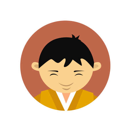 Portrait Of Asian Man Young Boy Wearing Traditional Clothes Chinese Male Avatar Icon Flat Vector Illustration Illustration