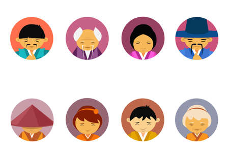 Portraits Of Asian People Set Of Men And Women In Traditional Clothes Female Male Avatar Icons Collection Flat Vector Illustration