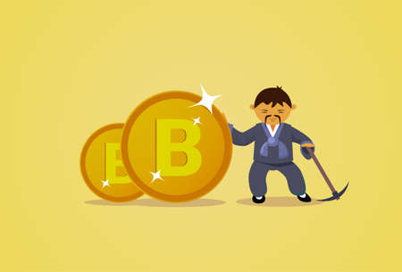 Bitcoin Mining Concept Asian Man In Traditional Clothes Hold Pickaxe Cryptocurrency Web Money Technology Flat Vector Illustration Иллюстрация