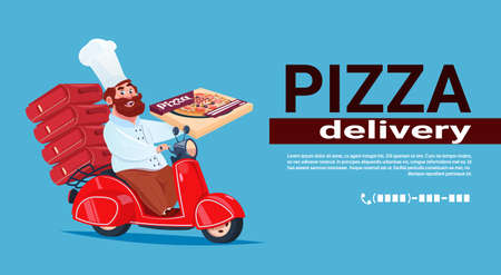 Fast Pizza Delivery Concept Chef Cook Riding Red Motor Bike Flat Vector Illustration Vettoriali
