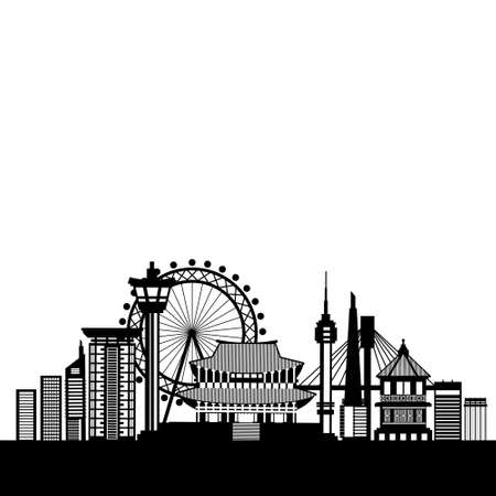 South Korea Skyline Silhouette Poster With Famous National Landmarks Isolated On Template White Background Flat Vector Illustration Illustration