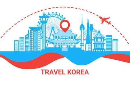 Viaggia nel manifesto della siluetta della Corea del Sud con i punti di riferimento coreani famosi sull'illustrazione piana di vettore di concetto della destinazione di viaggio del fondo bianco Vettoriali