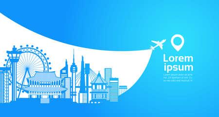 Señales famosas de Seul de la silueta del turismo de la Corea del Sur en fondo azul con el ejemplo plano del vector del concepto del destino del viaje del espacio de la copia.