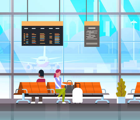People Waiting For Takeoff In Airport Hall Or Departure Lounge Passengers Terminal Check In Interior Flat Vector Illustration
