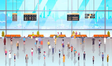 Airport Interior With Passengers Vettoriali