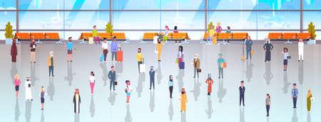 La gente nei viaggiatori dell'aeroporto con bagaglio che cammina da parte a parte in sala d'attesa e salotto di partenza all'illustrazione piana terminale di vettore Archivio Fotografico - 93640131