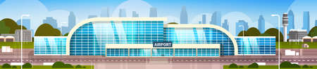 Airport Building Modern Terminal Exterior With City Skyscrapers On Background Horizontal Banner Flat Vector Illustration