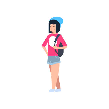 Young Asian Woman Chinese Or Japanese Female Wearing Modern Casual Clothes Full Length Isolated Vector Illustration Illustration