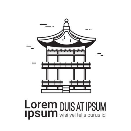 Korean Palace Sketch, Hand Drawn Famous Seoul Landmark Vector Illustration