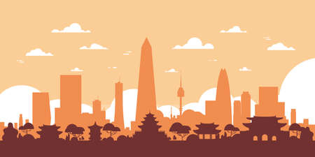 Seoul Silhouette Skyline South Korea City View With Skyscrapers And Landmarks Vector Illustration
