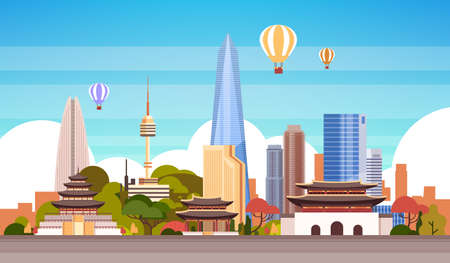 Seoul City Background Skyline View With Air Balloon Flying Over Skyscrapers And Famous Landmarks Vector Illustration