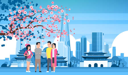 Young People Group Over Seoul City Background With Silhouette Skyscrapers And Landmarks Tourists Travel To South Korea Concept Vector Illustration Illustration