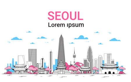 Seoul City Background skyline South Korea view with skyscrapers and famous landmarks template banner with copy space thin line vector illustration.