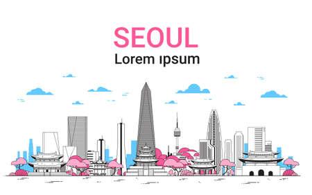 Seoul-Stadthintergrund-Skyline Südkorea-Ansicht mit Wolkenkratzern und berühmter Marksteinschablonenfahne mit dünner Linie Vektorillustration des Kopienraumes.