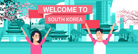 Welcome To South Korea Poster Korean Couple Over Seoul City Background With Skyscrapers And Landmarks Vector Illustration