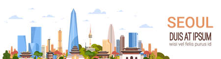 Seoul City Background Skyline South Korea View With Skyscrapers And Famous Landmarks Template Horizontal Banner Vector Illustration