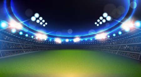 Sport Stadium With Lights And Tribunes Background Flat Vector Illustration Vektorové ilustrace