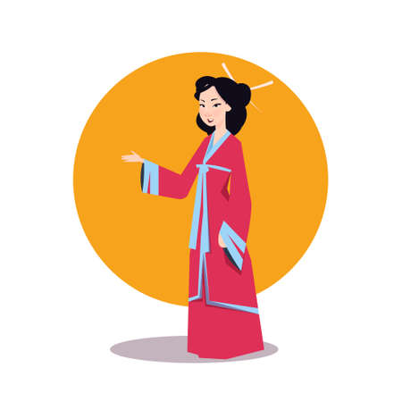Asian Woman In Japanese Kimono Beautiful Geisha Wearing Traditional Dress Vector Illustration  イラスト・ベクター素材