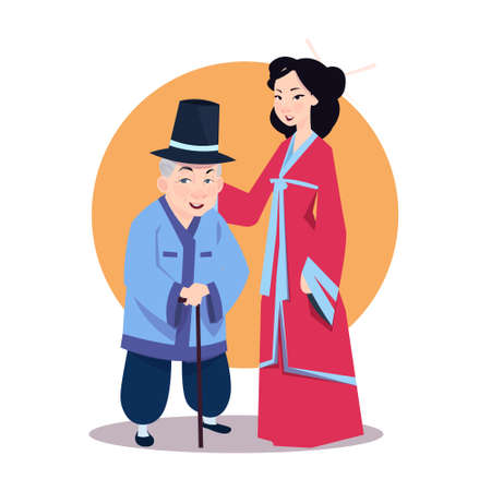 Old Asian Man With Young Woman In Japanese Kimono Korean Characters Wearing Traditional Clothes Vector Illustration