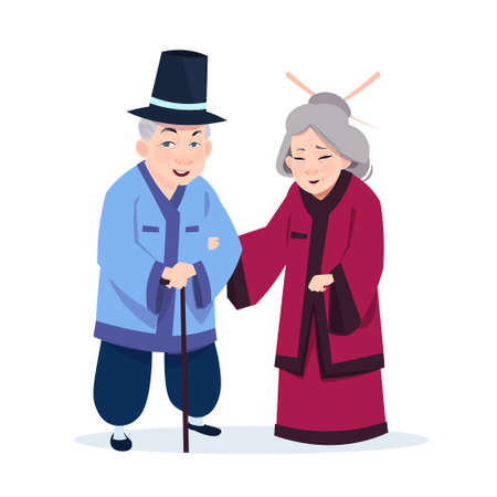Senior Asian Couple Wearing Traditional Costumes Old Man And Woman On White Background Vector Illustration