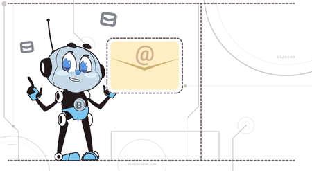 Chatbot Robot은 새로운 메시지 알림 신호를받습니다. 지원 기술 잡담 가상 지원 개념 벡터 일러스트 레이션