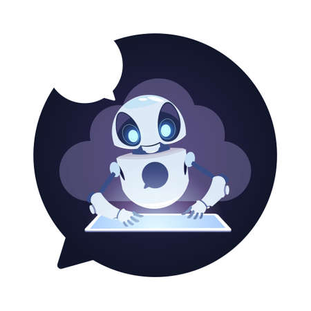 Chatbot Robot Icon Chatter Bot Answer Users Questions Using Digital Tablet Virtual Assistance Concept Flat Vector Illustration