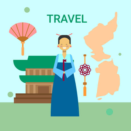 Woman In Traditional Korean Clothes Over Korea Map And Temple Or Palace Building Background Vector Illustration