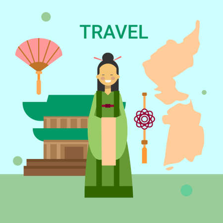 Woman Wearing National Korean Dress Over South Korea Map And Temple Or Palace Building Background Vector Illustration