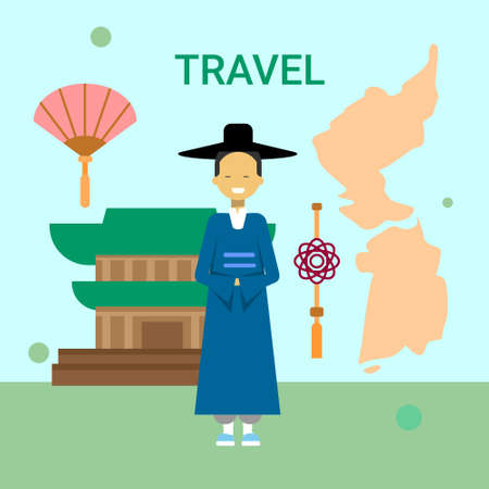 Man Wearing National Korean Dress Over South Korea Map And Temple Or Palace Building Background Vector Illustration